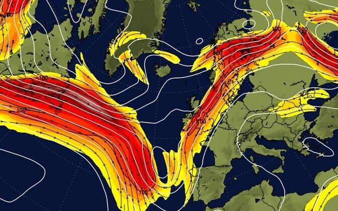 Kaardilt on näha, et õhuvoolud kannavad tolmu ja liiva Portugalist otse üle Eesti.