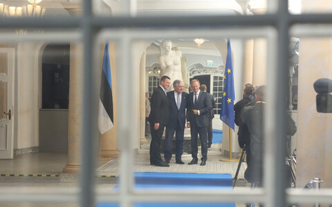 Jüri Ratas, Antionio Tajani ja Donald Tusk Kadriorus.