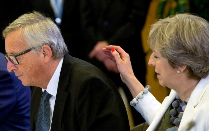 President of the European Commission Jean-Claude Juncker and British prime minister Theresa May in Brussels, Oct. 19, 2017.