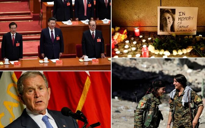 Hiina president Xi Jinping (keskel) ja tema eelkäijad Hu Jintao (vasakul) ja Jiang Zemin; 16. oktoobril tapetud Malta ajakirjanik Daphne Caruana mälestamine; USA   ekspresident George W. Bush; kurdi naissõdurid Raqqas.