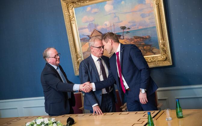 Enn Eesmaa, Eiki Nestor ja Hanno Pevkur pärast eelmisi riigikogu juhatuse valimisi.