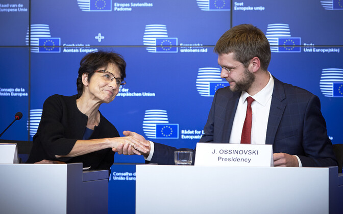 Commissioner Marianne Thyssen and Jevgeni Ossinovski, Oct. 23, 2017.