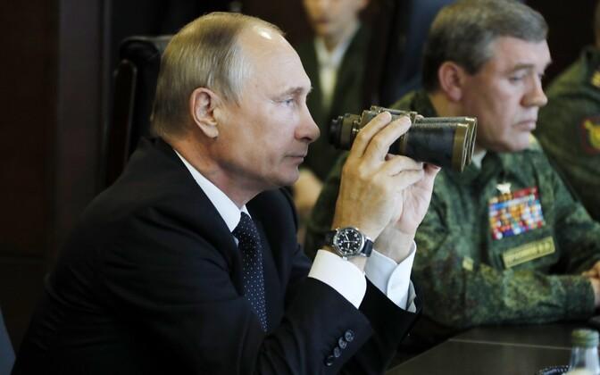 Russian President Vladimir Putin observing Zapad in Leningrad Oblast. Sept. 18, 2017.