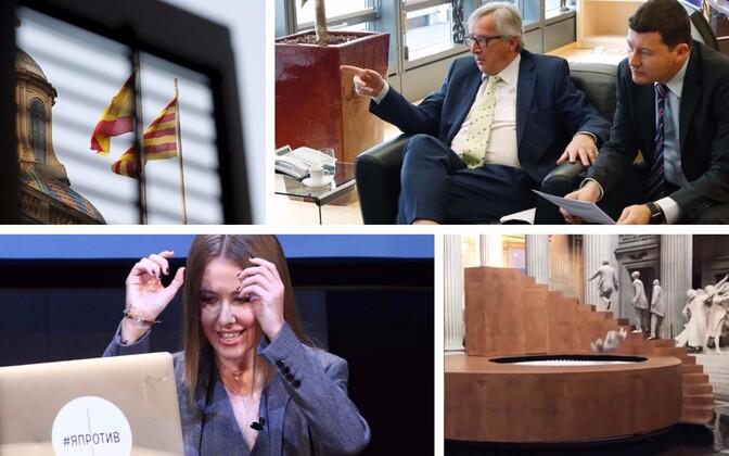 Hispaania ja Kataloonia lipud Barcelonas (AFP/Scanpix), Juncker ja tema kabinetiülem Martin Selmayr (AFP/Scanpix), Ksenia Sobtšak (TASS/Scanpix) ja Yoann Bourgeois' teos
