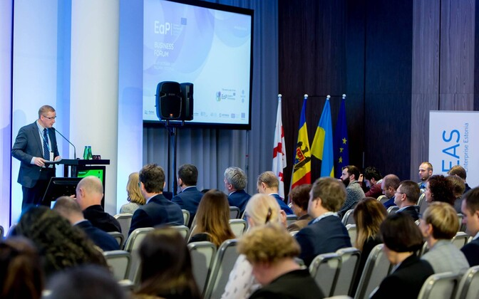 Enterprise Estonia board chairman Alo Ivask addressing the 4th Eastern Partnership Business Forum in Tallinn.