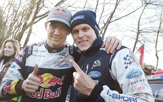Maailmameister Sebastien Ogier ning meeskonnakaaslane Ott Tänak