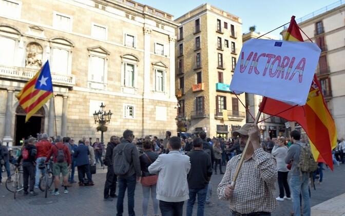 Демонстрация перед штаб-квартирой правительства Каталонии.