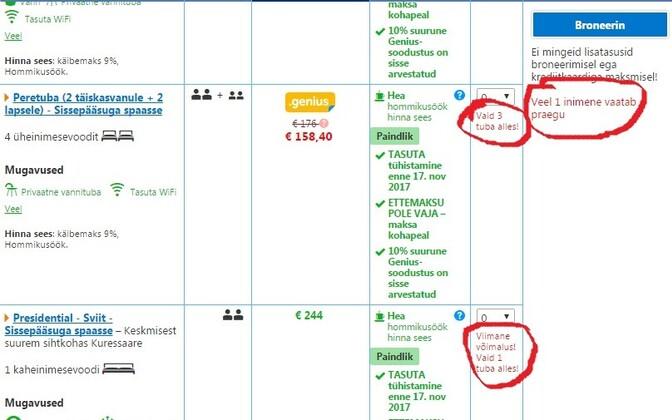 38863099742 Defitsiitsuse mulje loomiseks kasutab booking.com näiteks hoiatust