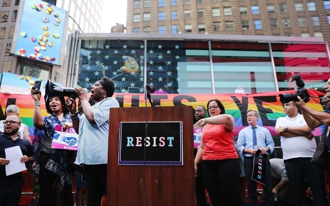 Transsooliste veteranide meeleavaldus New Yorgis 2017. aasta juulis.