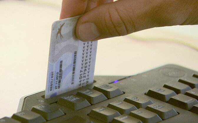 Estonian ID card being used with an integrated card reader.