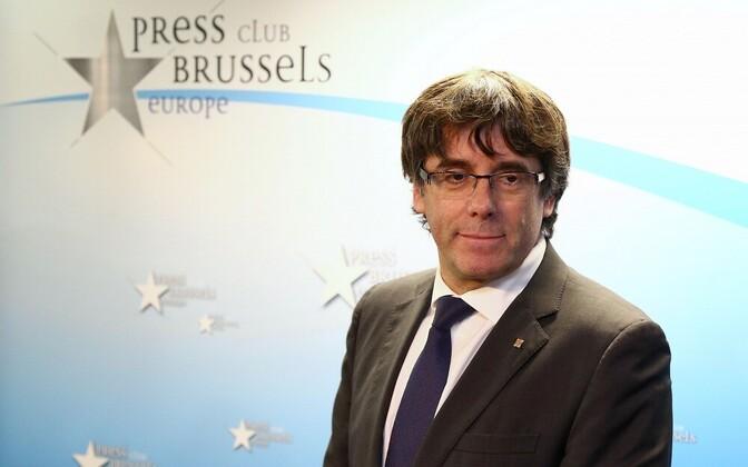 Карлес Пучдемон на прес--конференции в Брюсселе