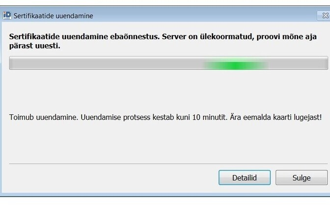 Error message seen while renewing ID card certificates.