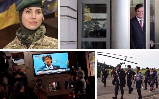 Ukraina poolel sõdinud tšetšeenitar Amina Okujeva (sotsiaalmeedia), Paul Manafort (AFP/Scanpix), Carles Puigdemonti Brüsseli pressikonverentsi vaatamine Barcelonas (Reuters/Scanpix) ja Aung San Suu Kyi Arakani osariiki külastamas (AFP/Scanpix).