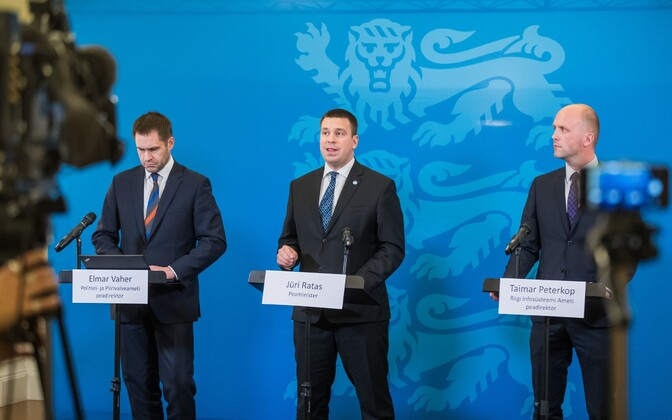 PPA Director General Elmar Vaher, Prime Minister Jüri Ratas (Center), RIA Director General Taimar Peterkop.