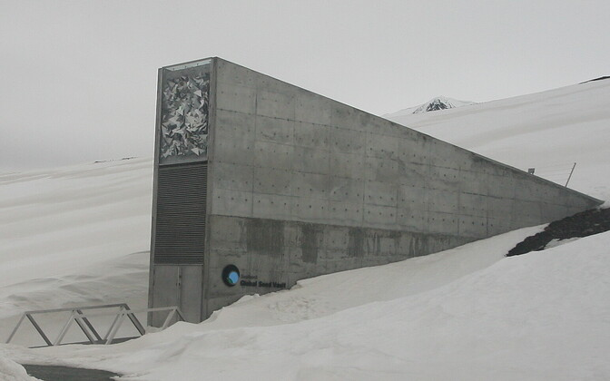 The entrance to the Global Seed Vault on Spitsbergen.