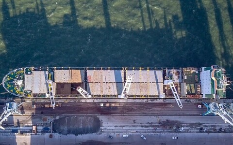 A cargo ship being loaded at the Port of Muuga.