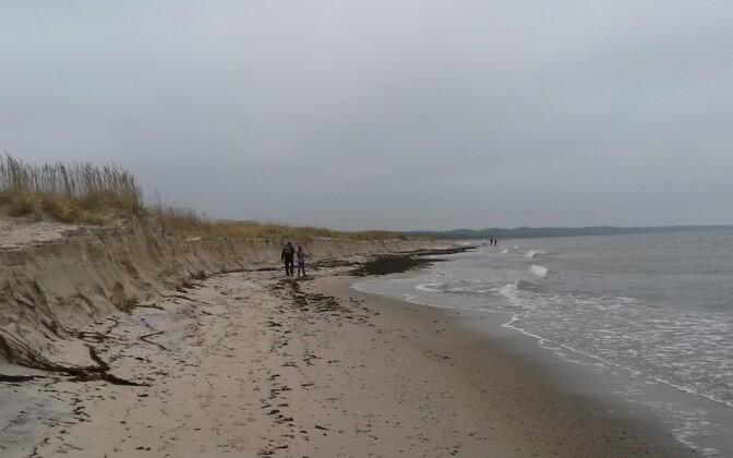 Пляж Перакюла после шторма