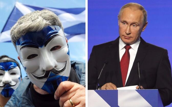 Šoti iseseisvusaktivistid ja Venemaa president Vladimir Putin.
