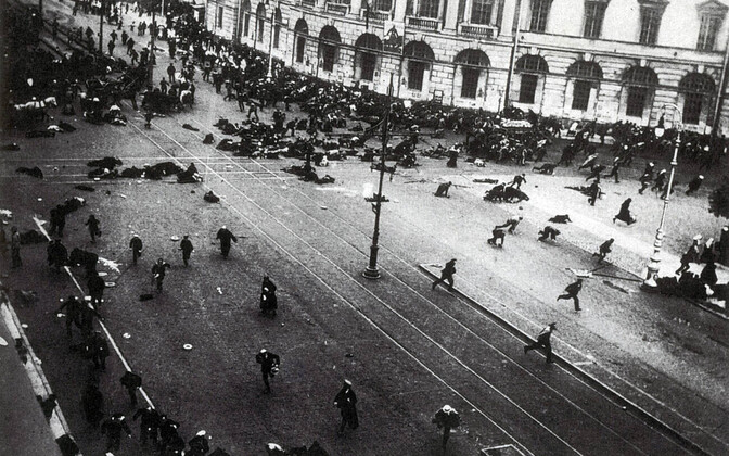Riot on St. Peterburg's Nevsky Prospect. The army has just opened fire on street protesters