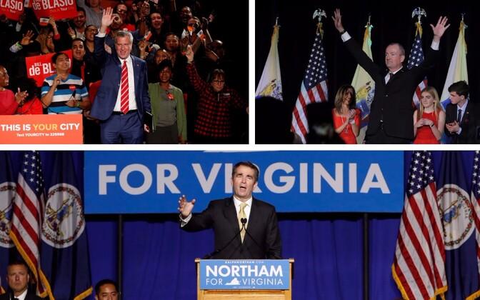 Demokraadid Bill De Blasio, Phil Murphy ja Ralph Northam pärast valimisvõitu.