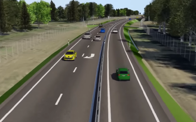 Mockup of the newly opened 2+1 lane passing zone on Tallinn-Tartu Highway.