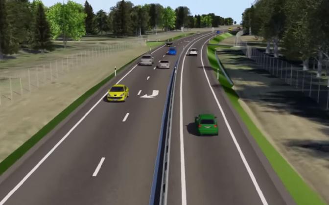 Mockup of the newly opened 2+1 lane passing zone on Tallinn-Tartu Highway.