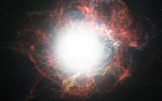Supernoova plahvatus kunstniku nägemuses.