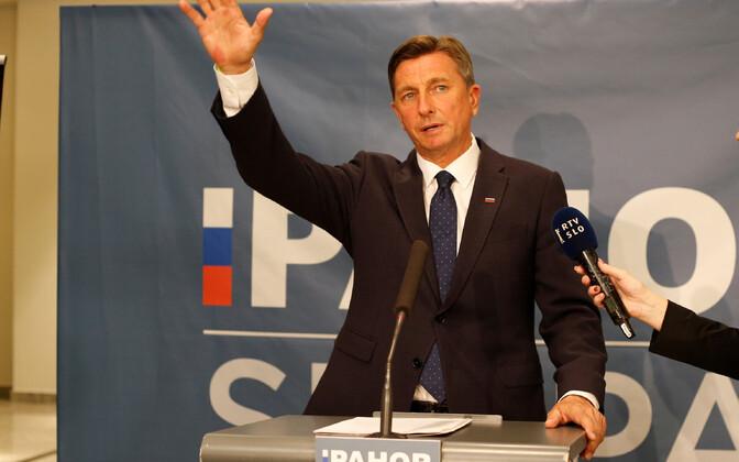 Borut Pahor võidust teatamas.