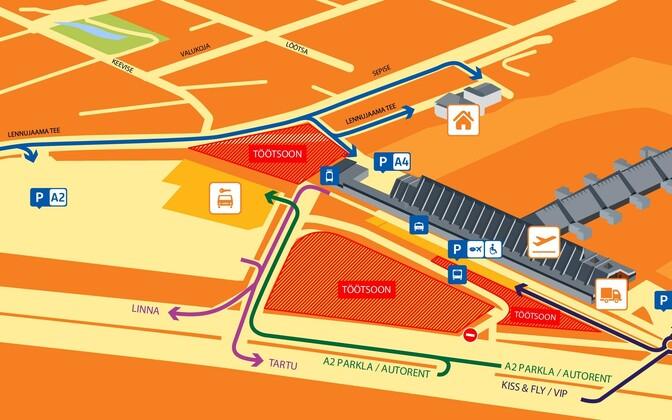 Terminali ja parklate skeem.