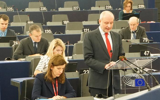 Estonian Deputy Minister for EU Affairs Matti Maasikas speaking at the plenary session of the European Parliament in Strasbourg on Tuesday. Nov. 14, 2017.