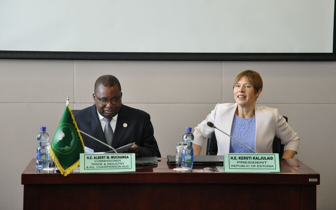 African Commissioner for Trade and Industry Albert Muchanga and President Kersti Kaljulaid.