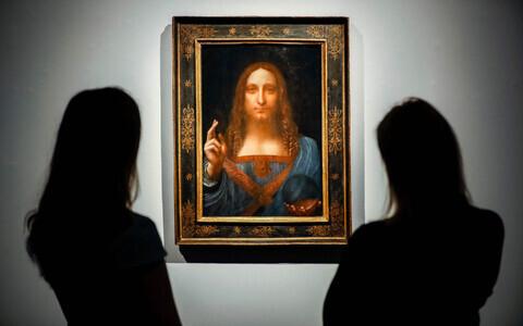 Jeesus Kristust kujutav teos, mille autor on eeldatavasti Leonardo da Vinci, oksjonimaja Christie väljapanekul.