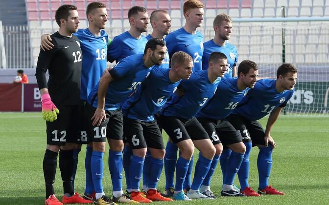 Eesti jalgpallikoondis enne sõprusmängu Maltaga.