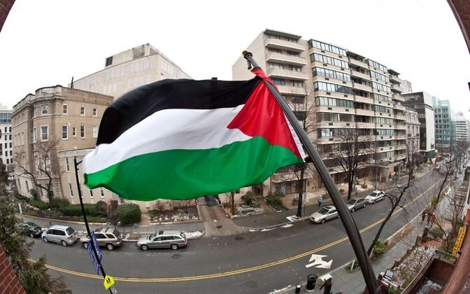 Palestiina lipp Washingtonis PVO delegatsiooni hoonel 2011. aastal.