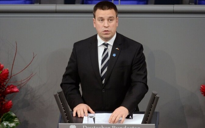 Prime Minister Jüri Ratas (Center) addressing the Bundestag on Sunday. Nov. 19, 2017.