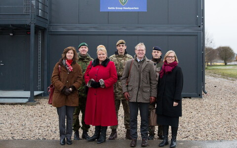 Ambassadors to NATO visiting Tapa Army Base on Monday. Nov. 20, 2017. L-R: Hélène Duchêne (France), Sarah MacIntosh (U.K.), Michael Zilmer-Johns (Denmark), Kyllike Sillaste-Elling (Estonia).