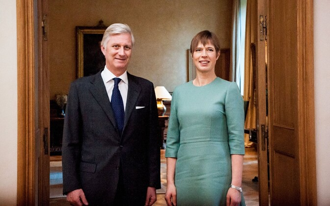 Philippe of Belgium with President Kersti Kaljulaid on Thursday. Nov. 23, 2017.