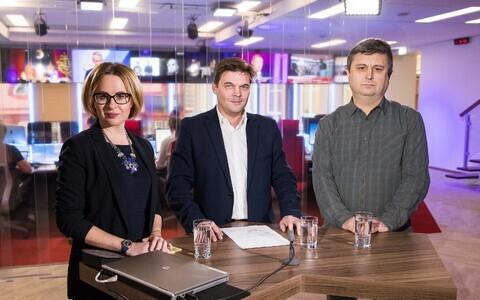 Мария Юферева и Валерий Сайковский с ведущим Артуром Тооманом.