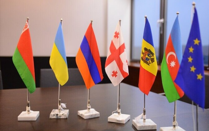 Flags of Eastern Partnership countries and the EU.