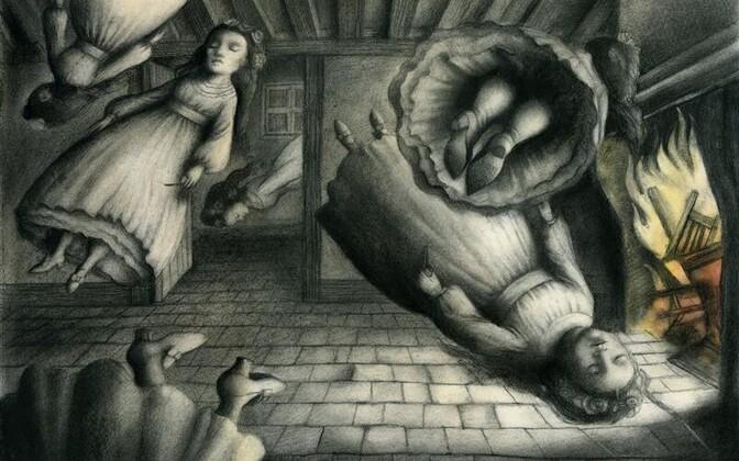 """Hispaanlanna Ana Juani salapärased monokroonsed pildid pälvisid ühe diplomitest. Juani illustratsioon Joseph Sheridan Le Fanu raamatule """"Carmilla""""."""