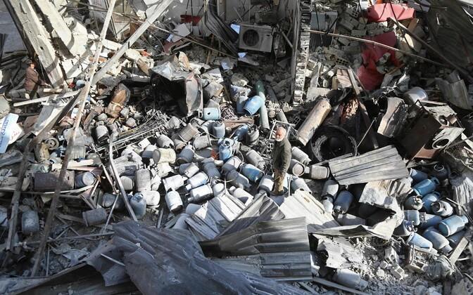 Õhurünnaku tagajärjed Ida-Ghouta piirkonnas 26. novembril.