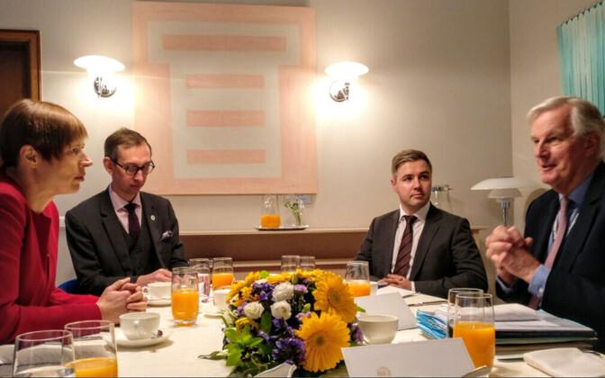 President Kersti Kaljulaid met with European Chief Negotiator for Brexit Michel Barnier in Tallinn on Monday. Nov. 27, 2017.