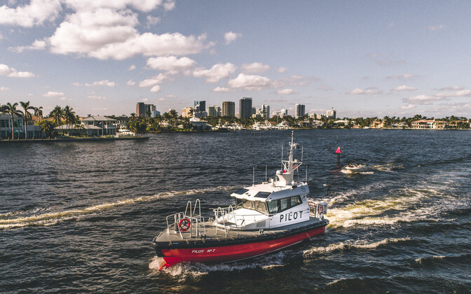 New Pilot 1500 WP wave-piercing boat delivered to Port Everglades in Fort Lauderdale, Florida.