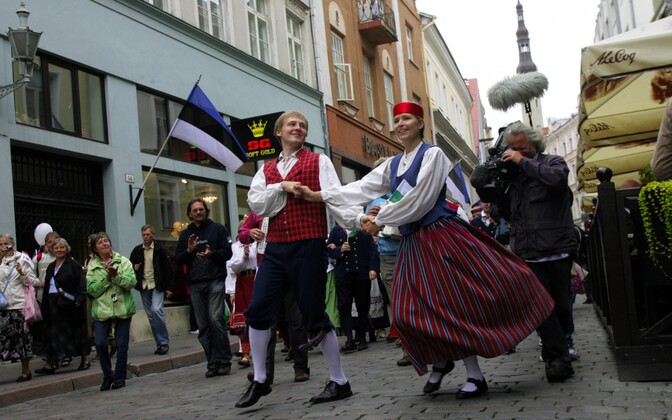 Folk dancers opening an eight-day nationwide dance event in 2011, when Tallinn was the European Capital of Culture.