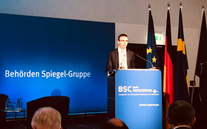 Minister of Foreign Affairs Sven Mikser (SDE) speaking at the opening of the Berlin Security Conference on Tuesday. Nov. 27, 2017.