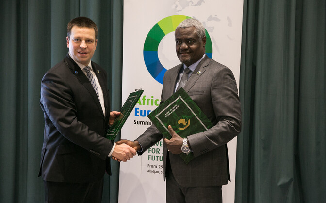 Prime Minister Jüri Ratas (Center) with Chairperson of the African Union Commission Moussa Faki Mahamat.