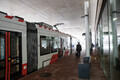 The number 4 tram stops at the public transport terminal at Tallinn Airport. Dec. 1, 2017.