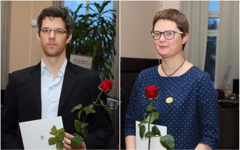 Riiklike üliõpialstööde preemiate laureaadid Kirsti Jõesalu ja Indrek Kalvet.