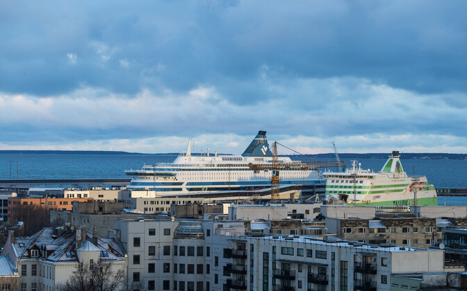 Tallink ferries in port in Tallinn.