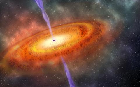 Teadaolevalt Maast kõige kaugemal asuv kvasar kunstniku nägemuses.